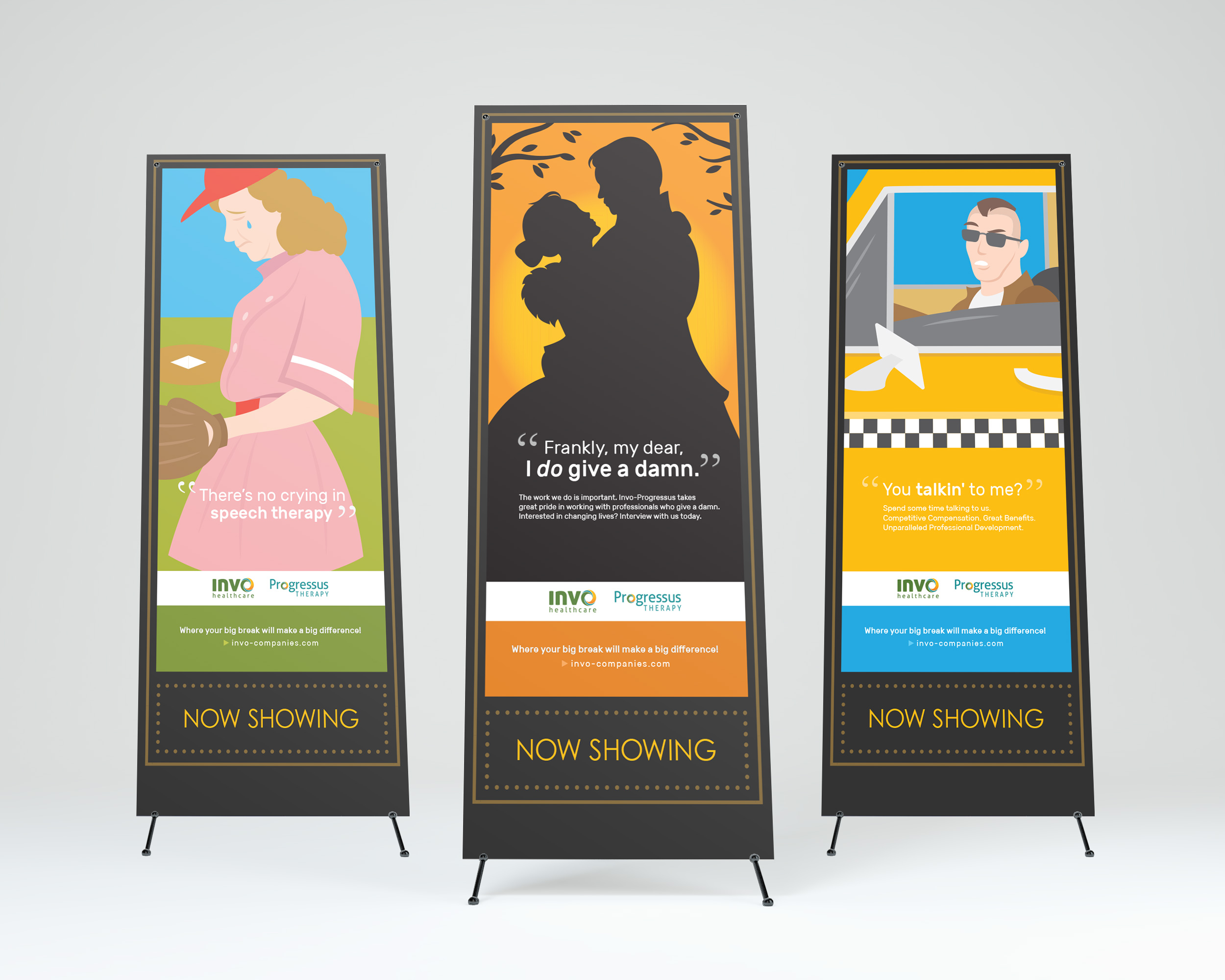 Invo Health: Vector Illustrations on Vertical Banners