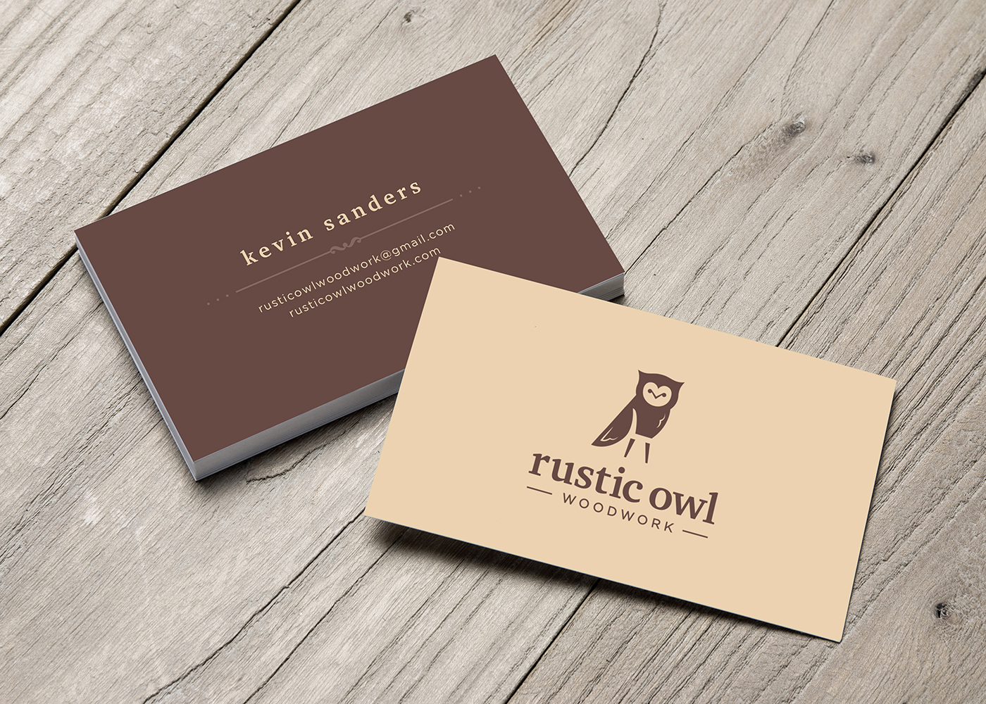 Rustic Owl: Woodwork Business Card Design