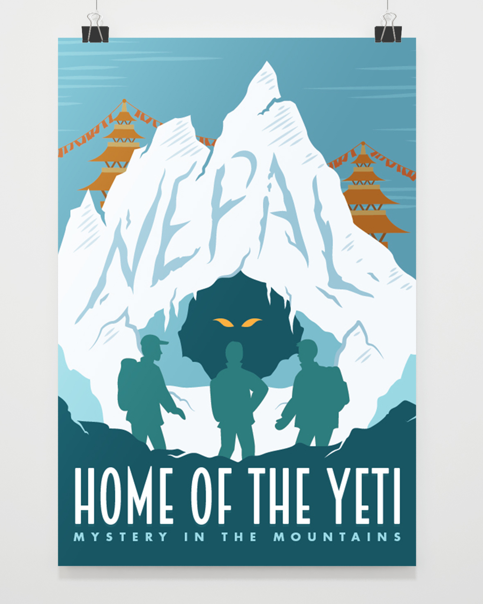 Nepal - Home of the Yeti: Vector Illustration